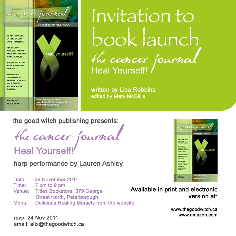 The Cancer Journal Heal Yourself! Book Launch Invite photo