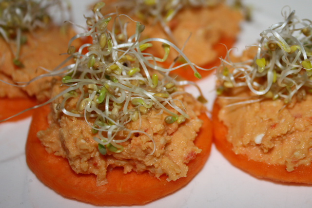 Perfect Estrogen Balance Red Pepper Hummus Canapes with Red Clover Sprouts photo